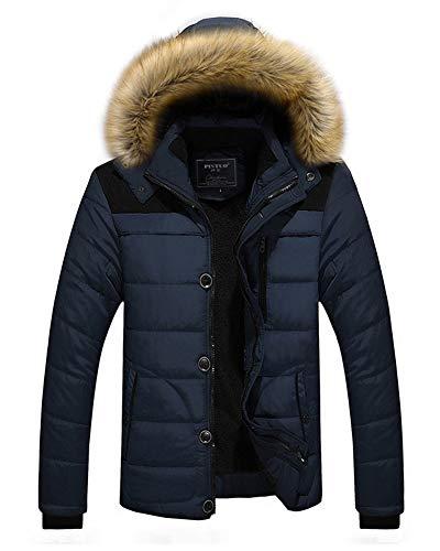 Capuche Bleu Plus Manteau Foncé Coton En Veste Épais Chaud Homme Hiver Doudoune À xwfvSqAC