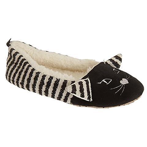 Womens/Ladies Fleece Lined Cat Design Ballet Slippers (9/10 US) (Black/White)