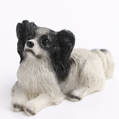 Package of 4 Adorable Miniature Resin Papillon Dog Figurines for Dollhouse, Fairy Gardens, and Crafting