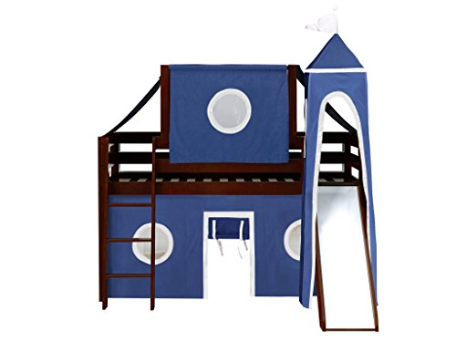 Jackpot Castle Low Loft Cherry Bed with Slide, Blue and White Tent and (Low Loft Castle)