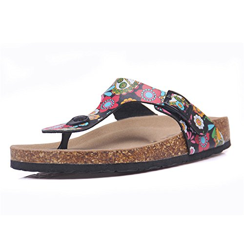 Color Print Flops Women ZHOUZJ Mixed Flip Slippers Beach Slip 5 Casual Cork Summer nvxXx6tzS
