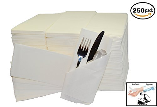 (250 Pack) Soft White Linen Feel Guest Towels: Strong and Absorbent Premium Disposable Cloth Kitchen and Bath Napkins (12