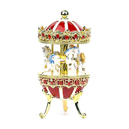 ZHAS Boxes & Figurines Carousel Music Box Girl, Friend's Best Birthday Gift (Sky City, Red)