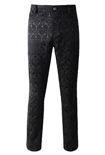 DarcChic Mens Trousers Pants Brocade VTG Gothic Aristocrat Steampunk Side braiding Trim (M, Black)