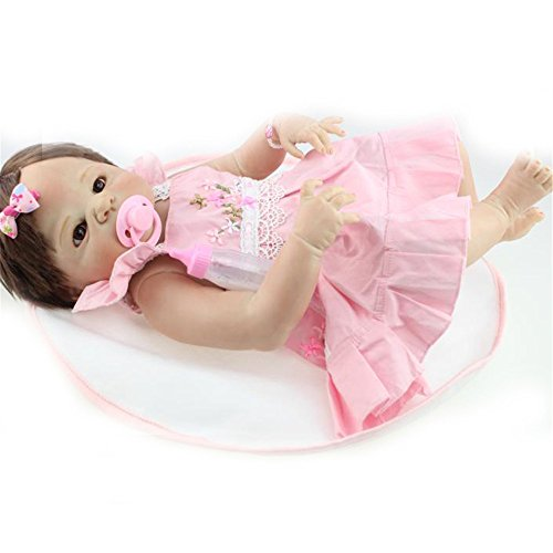 [Full Body Soft Silicone Baby Doll Brown Hair Girl 23-Inch Fan Moon] (Cabbage Head Costume)