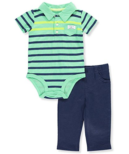 Carter's Baby Boys 2 Pc Bodysuit Pants Set Polo Front Pocket Captain Adorable - Polo Kids Coupon