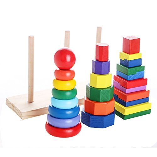 Wooden Stacking Cones (Woody Geometric Stacker | 25 pcs of Colorful Solid Wood Geometric Stacker Stacking Toy for Toddlers | 3 Exceptional Shapes for Building Early Shapes Color and Size Differentiation Skills | 1456.2)