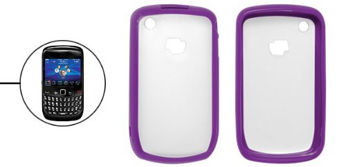 8520 Blackberry - DealMux Purple Margin Clear White Plastic Back Case for BlackBerry 8520