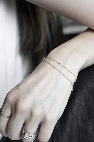 Filled Cable Chain Link Beads - Delicate 14k Gold Filled Satellite Bead Bracelet, Tiny Layered Dainty Bracelet, Boho Layered Bracelet, Mom Bridesmaid Girlfriend Gift