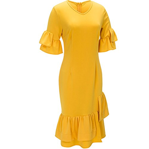 Half Sleeve Women's Neck Bodycon4U Ruffle V Knee Yellow Dress Mermaid Hem Length 7w17q4IxO
