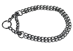 "T-Pet Chrome Double Chain Dog Collar 20"" Martingale 2.4mm, 5/8"" wide"