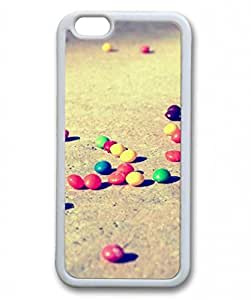 E-luckiycase TPU Supple Shell Colorful Candies On The Ground White Skin Edges for Iphone 6 Case