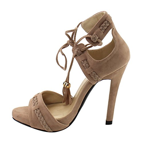 AE92 Dress Taupe High Sandals C Stiletto LABEL Womens Heel 57xTOwq