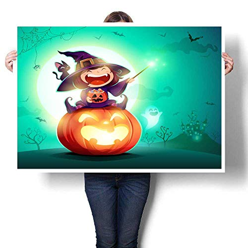 MartinDecor Wall Art Oil Paintings Halloween Little Witch Girl Kid in Halloween Costume Sits on a Giant Pumpkin Magic Wand and Candies on Hand Decorative Fine Art Canvas Print Poster K 36