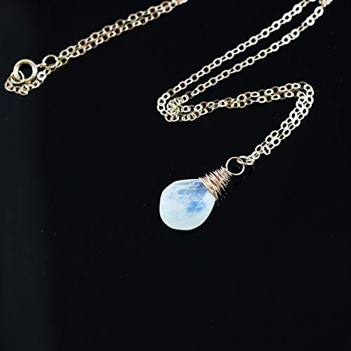 Rainbow Moonstone Rose Gold Pendant Necklace June Birthstone Jewelry - 18