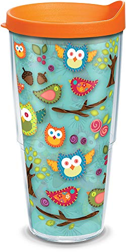 (Tervis 1132241 Owls & Birds Insulated Tumbler with Wrap and Orange Lid, 24oz, Clear)
