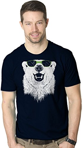Crazy Dog T-Shirts Mens Polar Bear Wearing Sunglasses Tshirt Funny Zoo Animal Graphic Tee (Blue) - Sunglasses Graphic