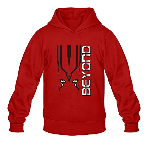 Beyond Star Trek Men's Long Sleeve Pullover Hoodie Red US Size (Misses Halloween Pajamas)