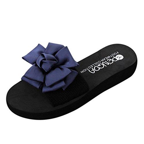 夏シューズ、aimtoppyレディース花ラウンドトウウェッジスリッパインドアflip-flopsビーチ靴 US:6.5 ブルー AIMTOPPY