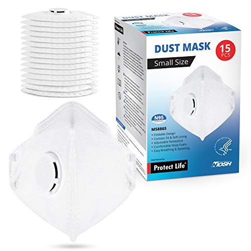 Small Size Dust Mask - 15 pack - Safety N95 Particulate Respirator w/Exhalation Valve | 4-Layers Protection from dust, pollution, allergens & more