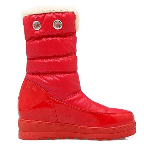 COOLCEPT Women Comfort Waterproof Platform Mid Heels Mid Calf Boots Red 5d6Wkd9I