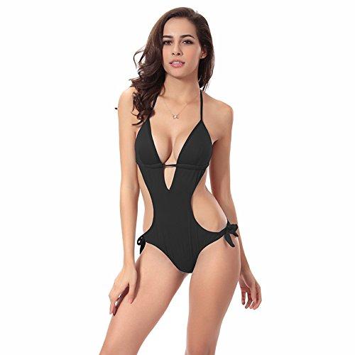 Uskincare Mujer Chica Bañador Traje de Baño de Una Pieza Escote en V Push Up Triángulo Bikinis 3-Black