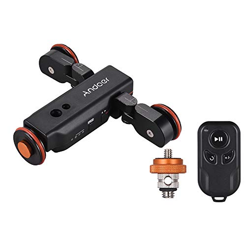 Andoer Motorized Camera Video Dolly with Scale Indication, Electric Track Slider Wireless Remote Control 3 Speed Adjustable Mini Slider Skater for Canon Nikon Sony DSLR Camera iOS Android Smartphone from Andoer