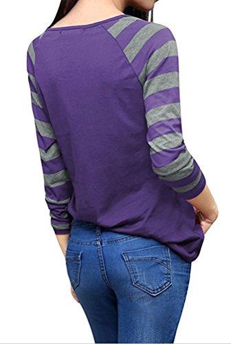 YiLianDa Casual Mujer Camisetas Manga Larga Básico Ropa Moda Cuello Redondo Slim Fit Morado