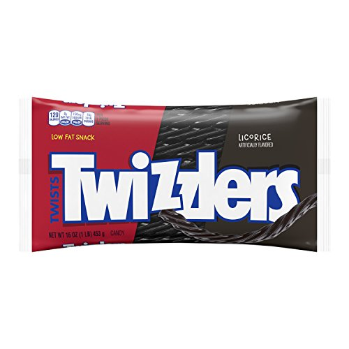 TWIZZLERS Licorice Candy, Black Licorice, 16 Ounce (Pack of 12) -