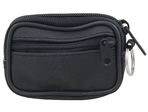 Black Leather 2 Pocket Zippered Purse