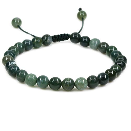 "Natural Moss Agate Gemstone 6mm Round Beads Adjustable Bracelet 7"" Unisex"