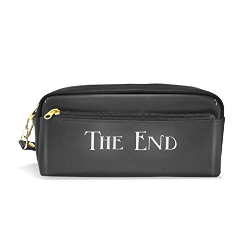 LORVIES Movie Ending Screen Portable PU Leather Pencil Case School Pen Bags Stationary Pouch Case Large Capacity Makeup Cosmetic Bag by LORVIES
