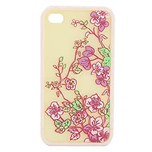 LZXProtective Polycarbonate Bumper and Back Cover for iPhone 4 and iPhone 4S (Beige Flowers)