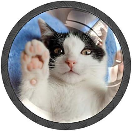 取っ手 引き出しハンドル 猫 かわいい 把手 家具ハード 食器棚ワード ワードローブ 耐久性 飾り 4個セット 収納ケース付き