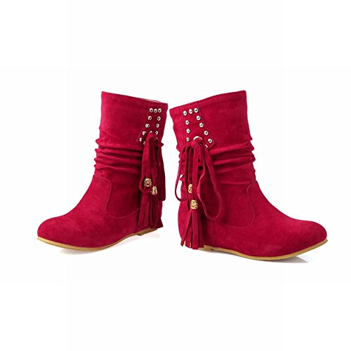 Carolbar Womens Fashion Casual Studded Tassels Bowknots Hidden Heel Short Boots Red wvfXwUX