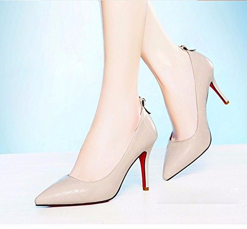KHSKX-Beige 9 Cm Spitz High Heels Neue Single Schuhe Frauen Dünn Und Leicht Für Frauen Schuhe Hochzeit Schuhe Den Fuß 39