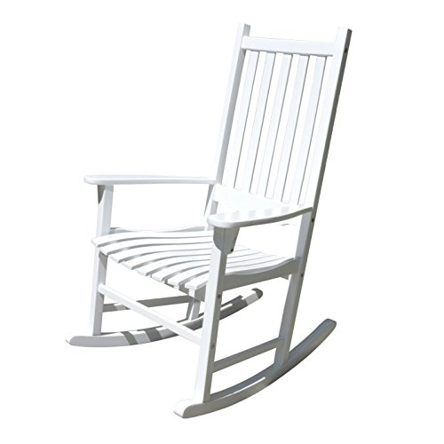 Merry Garden - White Porch Rocker/Rocking Chair Acacia Wood (White Garden Rocker)