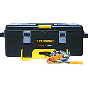 Superwinch 1140232 Winch 2 Go 12V 4000SR Portable Winch System (4000lb with Synthetic Rope, Pulley Block, Gloves, Straps and D-Shackles)