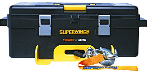 - Superwinch 1140232 Winch 2 Go 12V 4000SR Portable Winch System (4000lb with Synthetic Rope, Pulley Block, Gloves, Straps and D-Shackles)