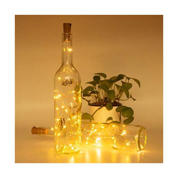 Luci per Bottiglia (9 pezzi), Litogo Luci Tappo LED a Batteria per Bottiglie, Filo di Rame Led Decorative Stringa Luci da Interni e Esterni per Festa, Giardino, Natalizie, Matrimonio (Bianco Caldo) 3 spesavip
