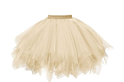 (Musever 1950s Vintage Ballet Bubble Skirt Tulle Petticoat Puffy Tutu Champagne)