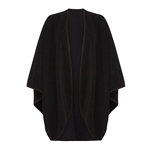 Oxfords Cashmere Wool and Cashmere Cape with Trim, Black-One Size