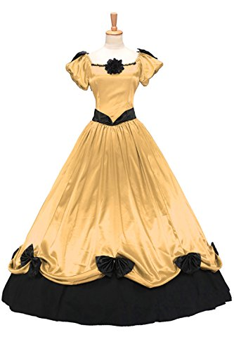 XOMO Victorian Southern Belle Ball Gown Period Princess Puff Sleeve Formal Dress Yellow Custom Made Southern Belle Ball Gown