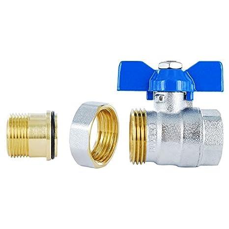 racor de rosca macho x hembra V/álvula de esfera de lat/ón de compresi/ón paso total con mando de palanca de mariposa azul