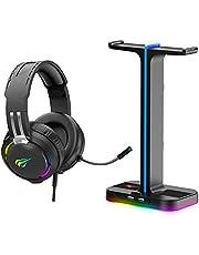 سماعات راس للالعاب بخاصية الفضاء اللوني ار جي بي RGB وحامل لسماعات الراس (2 في 1)، قاعدة حامل مكتب مزدوج مع حامل موبايل و2 منفذ USB، سماعات راس للالعاب مع ميكروفون لاجهزة PS4 PS5 Xbox من هافيت (اسود)