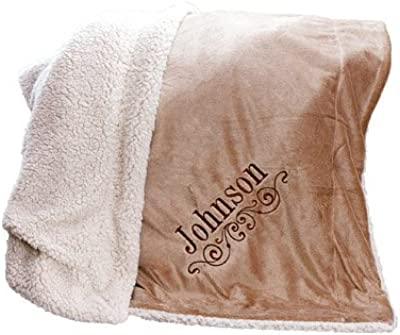 "GiftsForYouNow Embroidered Personalized Sherpa Blanket, 50"" x 60"""