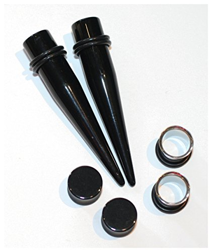 D7 Plug - 3 Pairs of Black Tapers 316l Steel Tunnels and Black Plugs Ear Stretching Kit Gauges Gauging Plugs (12g)