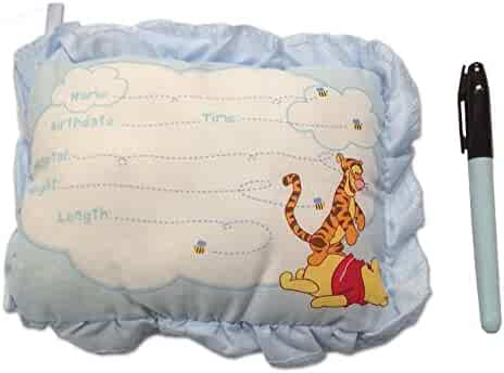 8 Inch Winnie The Pooh Birth Announcement Door Pillow With Pen in Blue/Baby Boy Keepsake