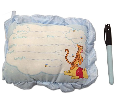 8 Inch Winnie The Pooh Birth Announcement Door Pillow With Pen in Blue/Baby Boy Keepsake from Disney