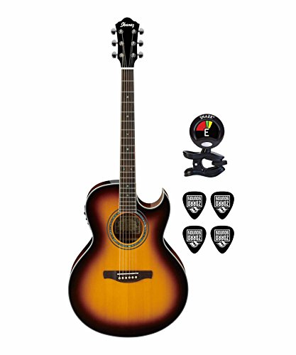 Ibanez JSA5 Joe Satriani Signature 6-String Acoustic-Electric Guitar in Vintage Burst Finish With Guitar Stand, Clip-On Tuner And Custom Designed Instrument Cloth